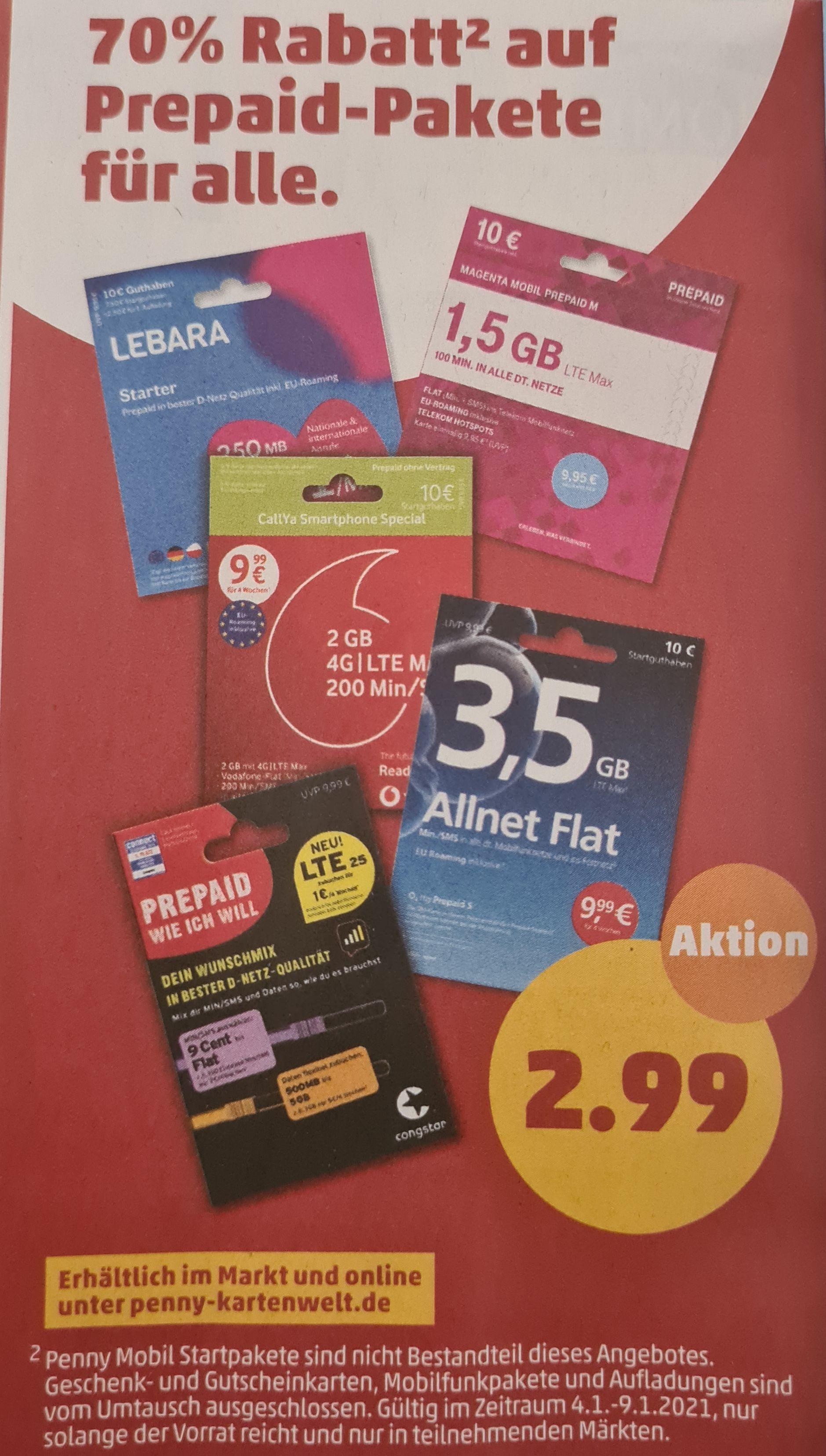 70% Rabatt auf alle Prepaid-Starterpakete (außer Penny Mobil) [Penny]