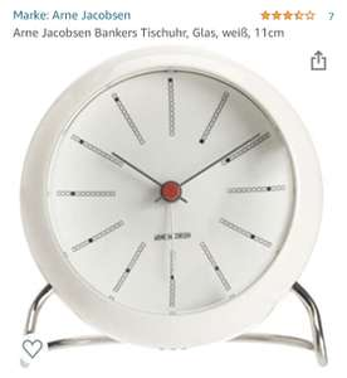 Arne Jacobsen Bankers Tischuhr, Glas, weiß, 11cm