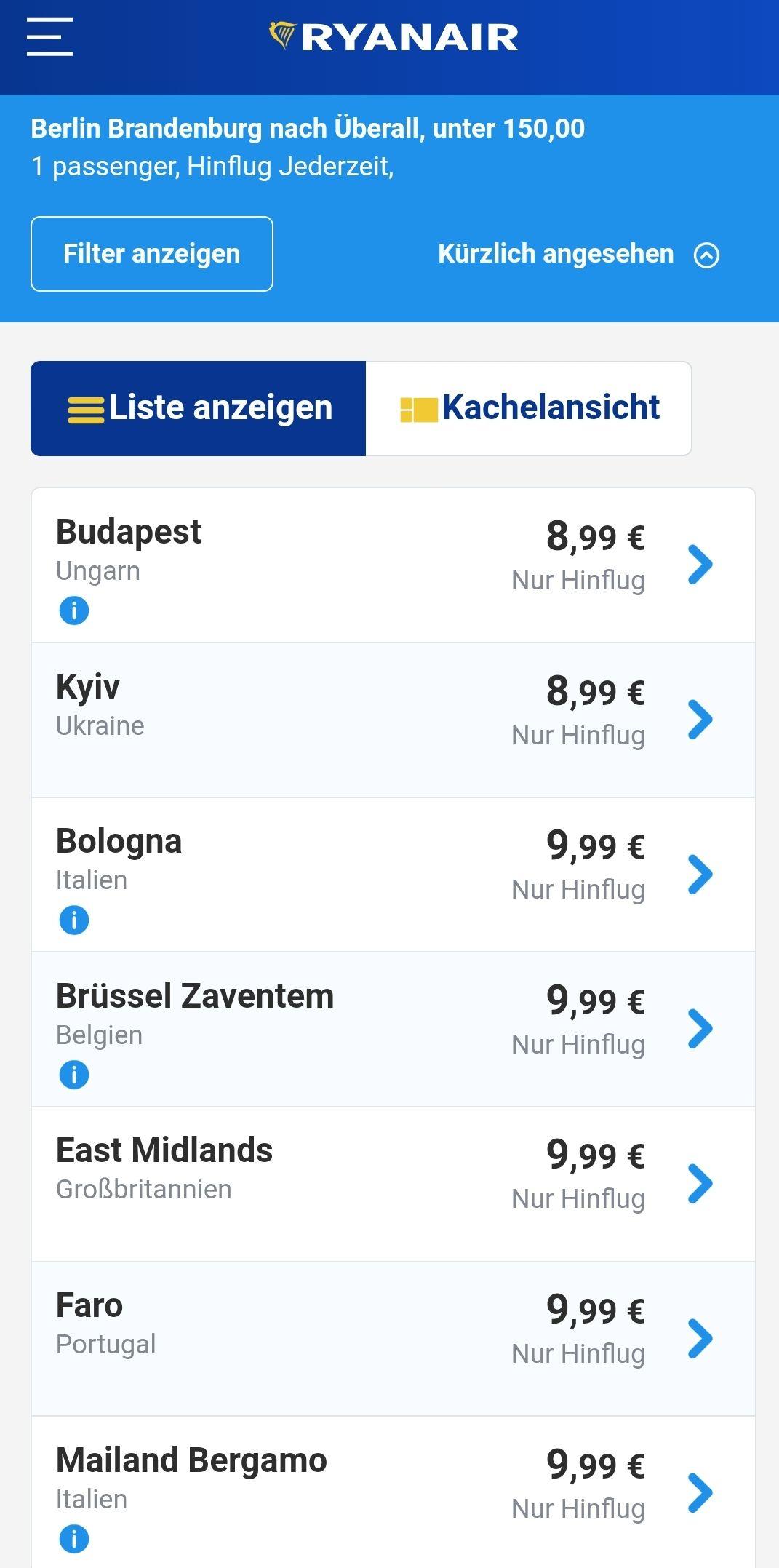 Ryanair Flüge ab Berlin für 9.99 EUR