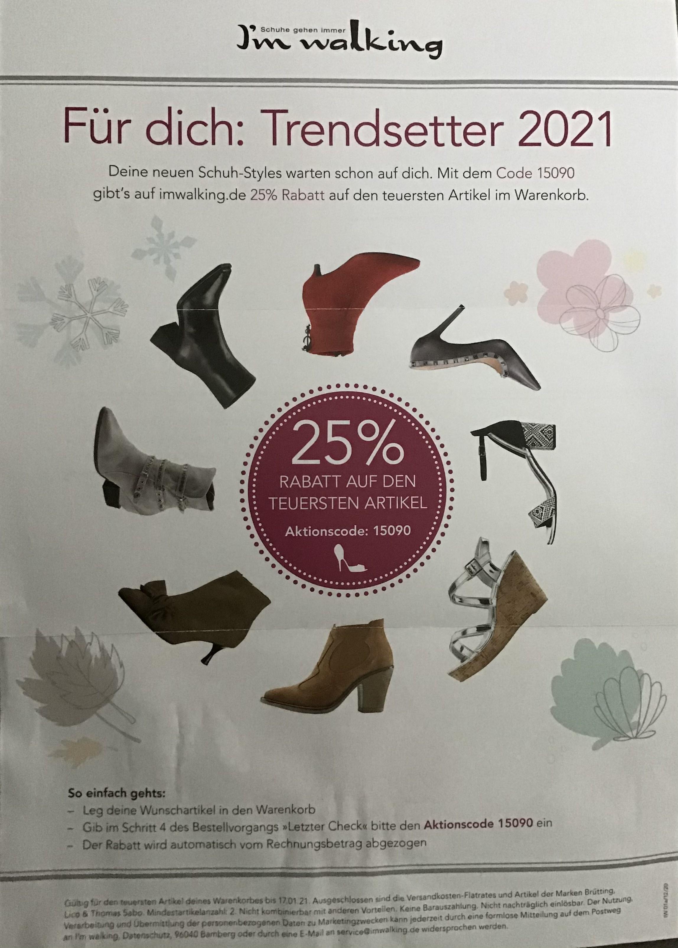 25% auf eine Paar Schuhe bei I'm Walking