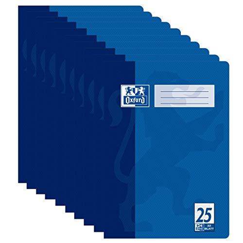 Oxford Schulheft A4, Lineaur 25, 32 Blatt, blau, 10er Pack [PRIME]