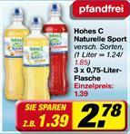 Toom 3x 0,75L PET Flasche hohes C Naturelle Sport für gesamt 1,58 €