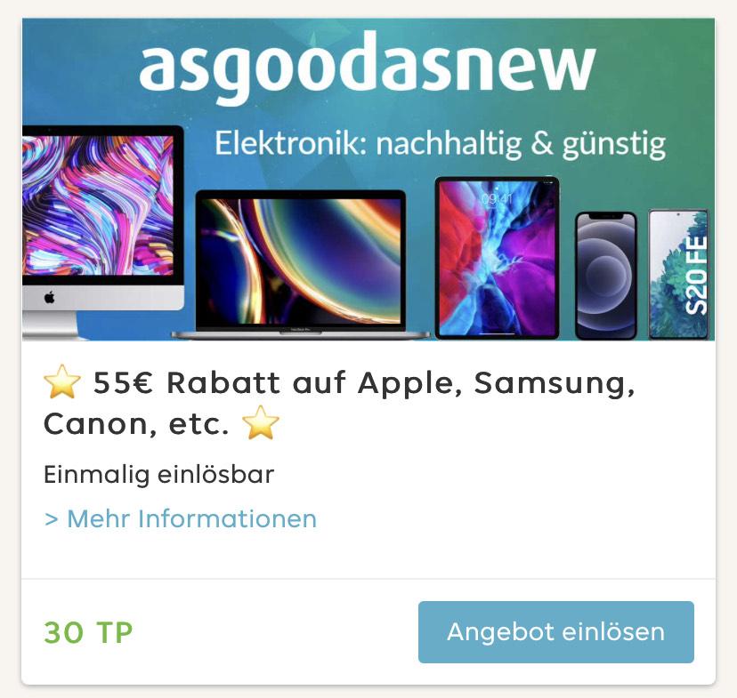 """[Lieferando Prämienshop] 55€ """"asgoodasnew"""" Gutschein für 30 Pkt. (ausgenommen Zubehör)"""