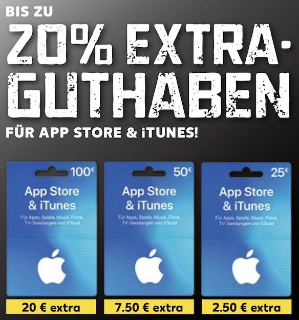 Kaufland: Bis zu 20% zusätzliches Guthaben für iTunes & App Store Geschenkkarten - 25€, 50€ u. 100€ / ab 07.01.