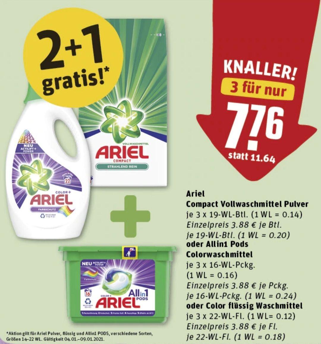 [REWE] 3x Ariel Allin1 Pods 16WL für 7,76€ (+600 Payback Punkte = 6€) (Personalisiert)