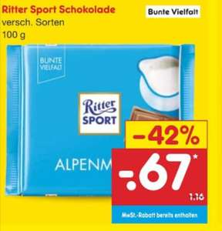 Ritter Sport (Bunte Vielfalt) je 100 gr. verschiedene Sorten