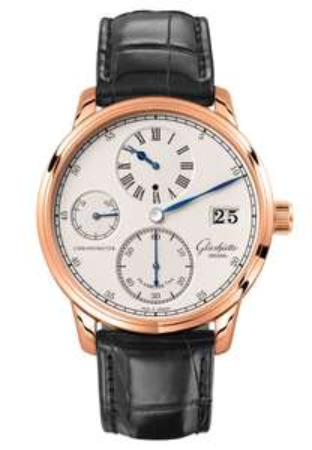 Glashütte Senator Regulator Chronometer - Automatikuhr - aus 18K Roségold - Alligatorlederband - Luxusuhr Germany made - UVP 26.030 Euro