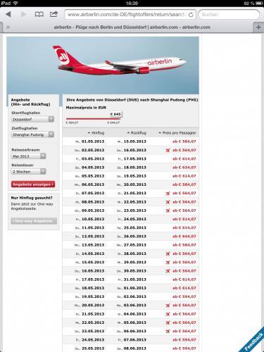 AirBerlin Shanghai / Peking ab DUS hin&zurück für 564,07