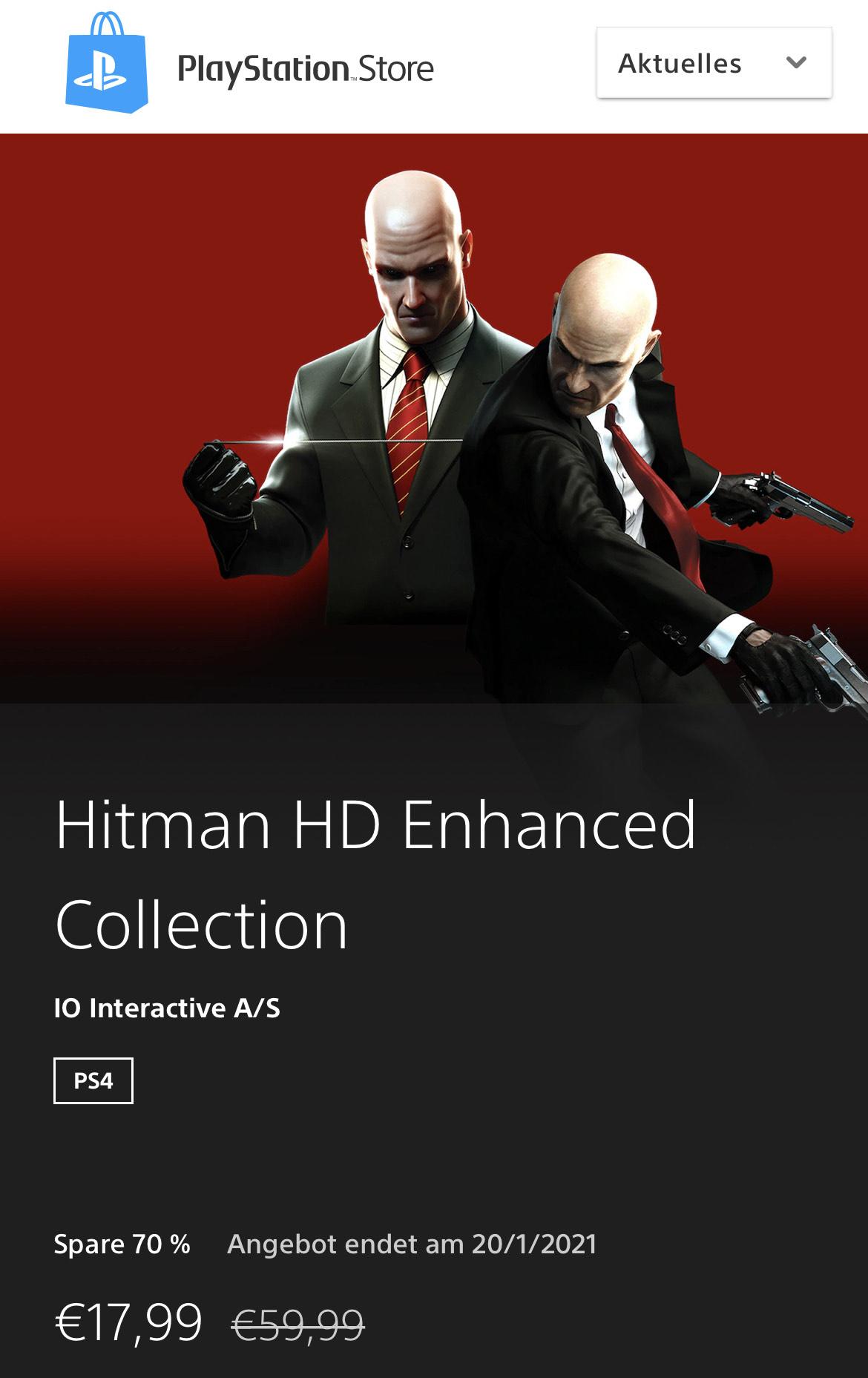 (PSN) Sony PlayStation Store - Hitman HD Enhanced Collection