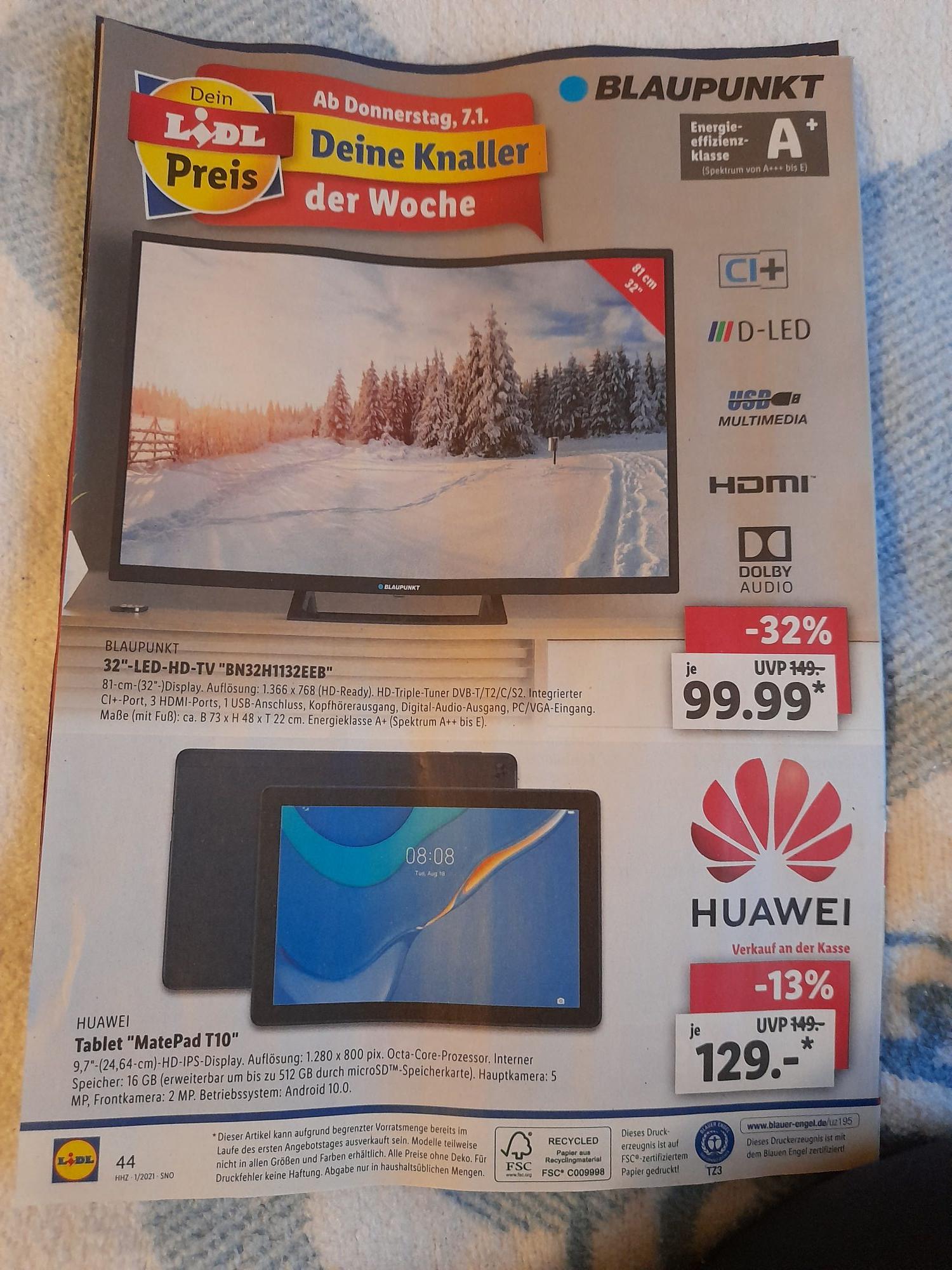 "Huawei Matepad T10 für nur 129€/ Blaupunkt 32""-LED-HD-TV-BN32H1132EEB"