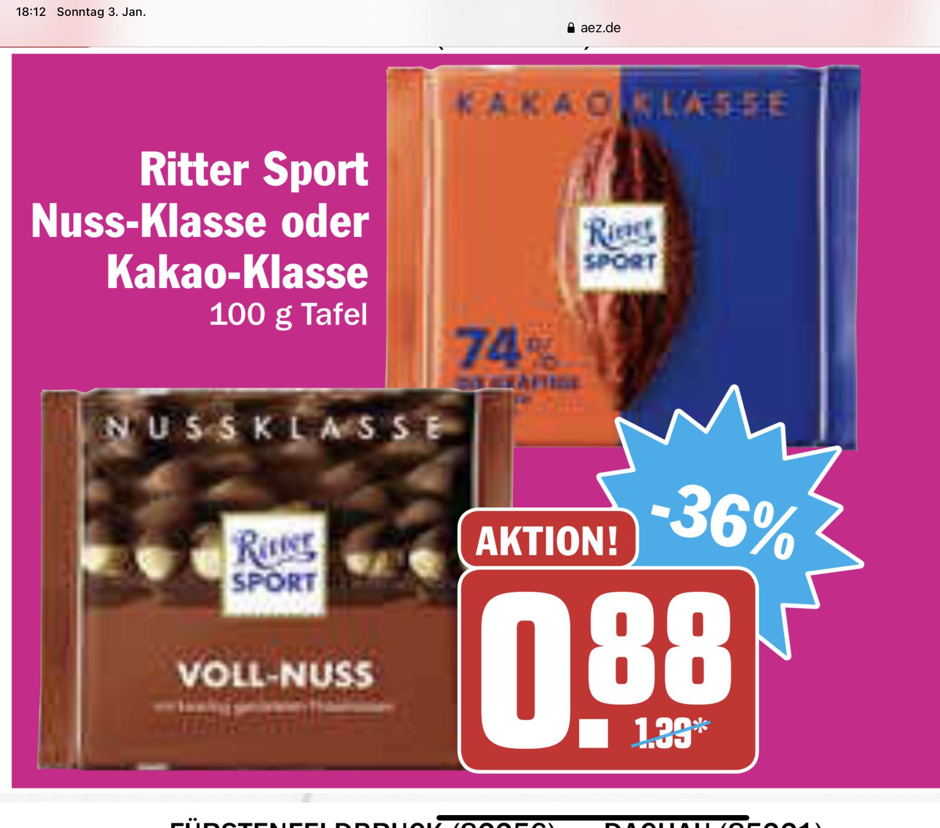 Ritter Sport Nussklasse und Kakaoklasse AEZ Region München 0,88€