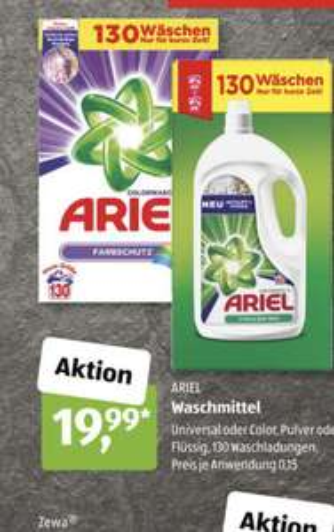 [ALDI Süd] Ariel Color / Weiß Pulver oder Flüssig - 130 Wäschen