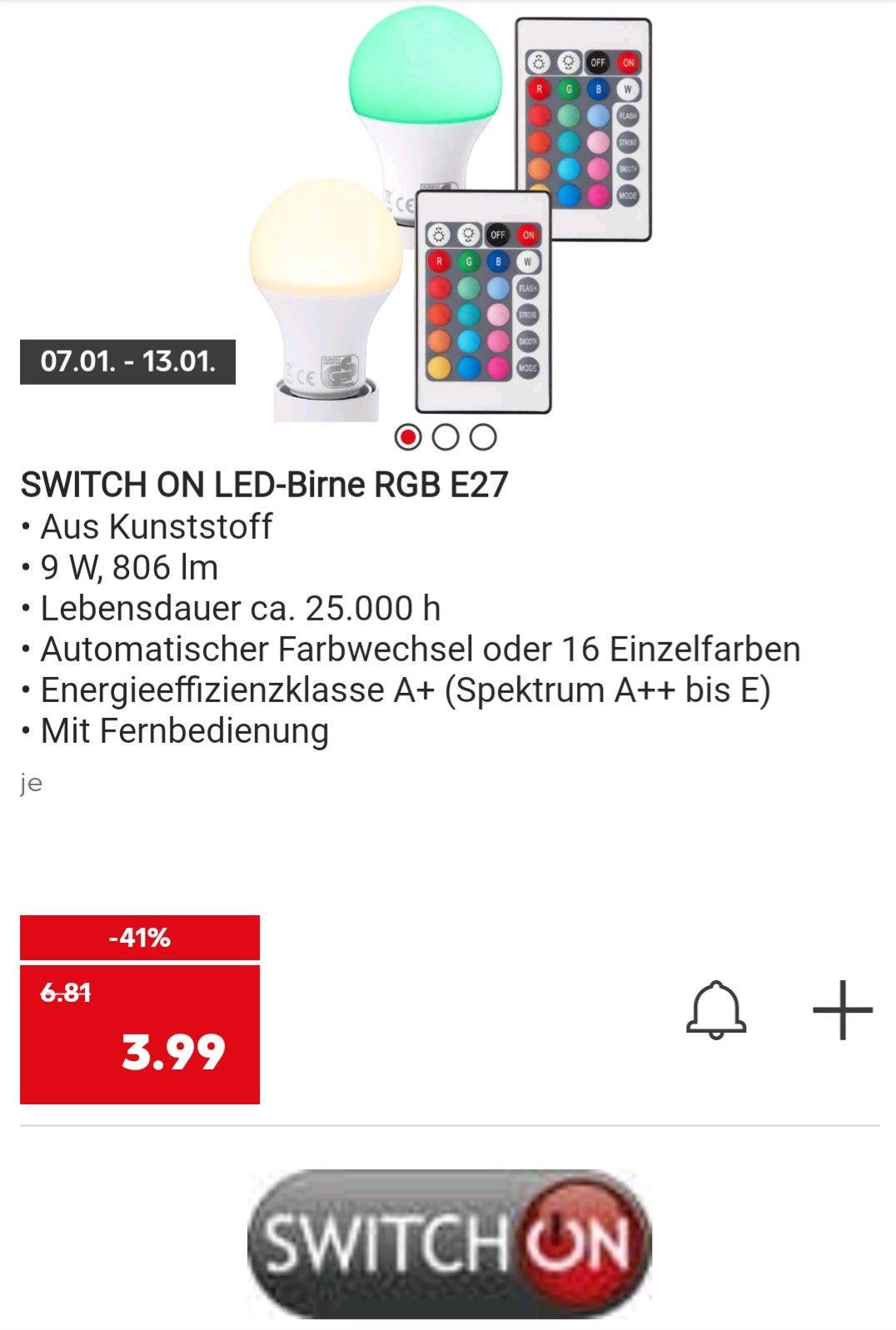 LED Glühbirne mit RGB und Fernbedienung sowie mit 806 Lumen