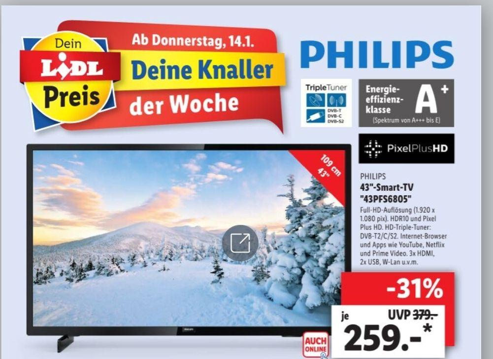 "LIDL Philips Smart Full HD TV 43"" 43PFS6805 ab 14.01. online und lokal"