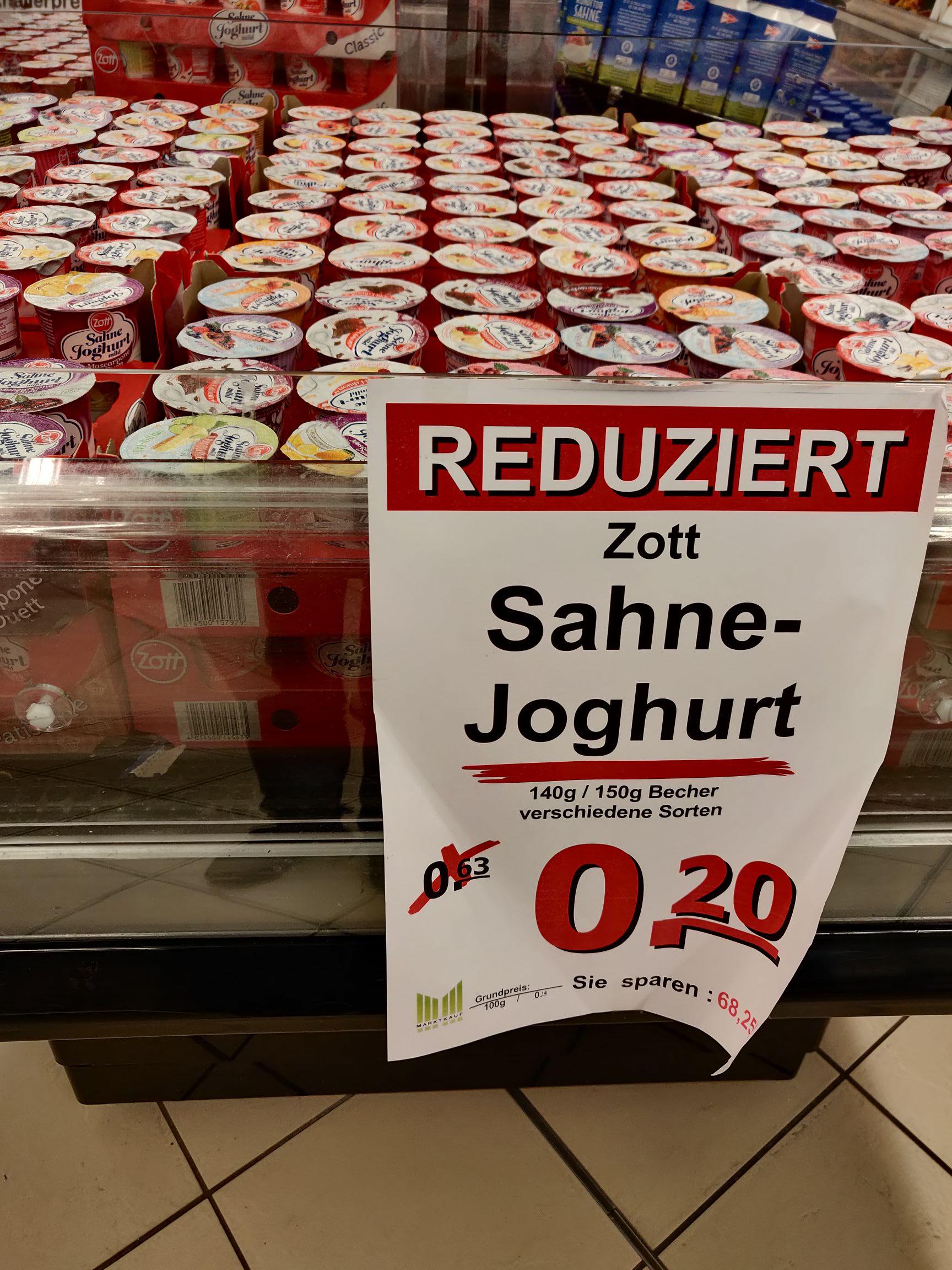 Marktkauf HH-Bergedorf: Zott Sahne Joghurt versch. Sorten 0,20€