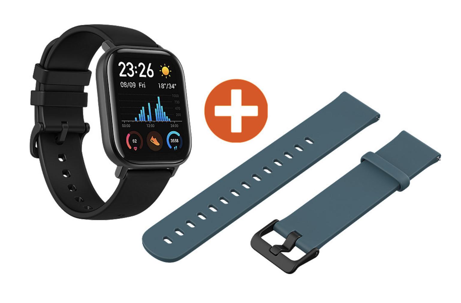 Amazfit GTS Smartwatch Aluminium-Gehäuse, schwarz, Amoled-Display + 2. Armband