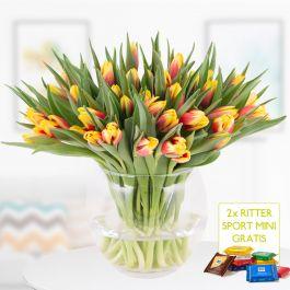 40 zweifarbige Tulpen (rot-gelb) + 2 gratis Mini Schokis + Grußkarte - lieferbar bis 16.1.