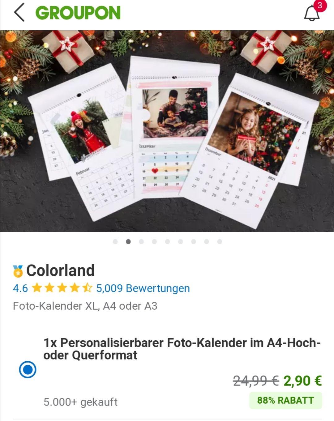 1x Personalisierbarer Foto-Kalender im A4-Hoch- oder Querformat