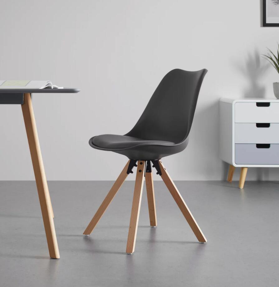 Bessagi Home STUHL 'Ricky' / Beine: Buche, massiv / Sitzschale: PU / Sitzkissen: Kunstleder. / grau oder weiß