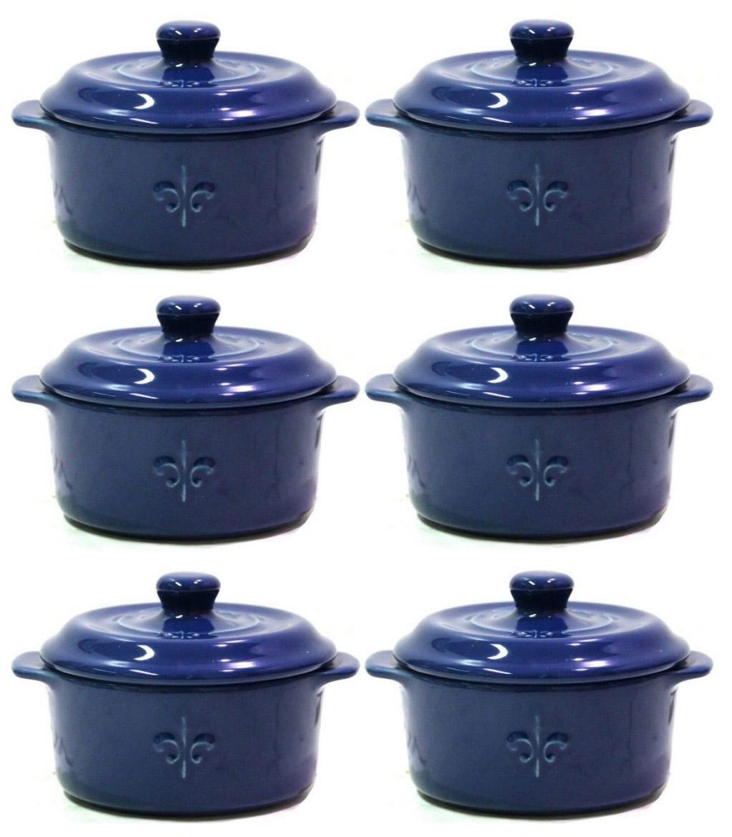 6x Fontignac Mini-Kokotte/-Kochtopf (je 0.2l, 10cm, ofensicher bis 220°C, mikrowellen- & spülmaschinenfest, hergestellt in Portugal)