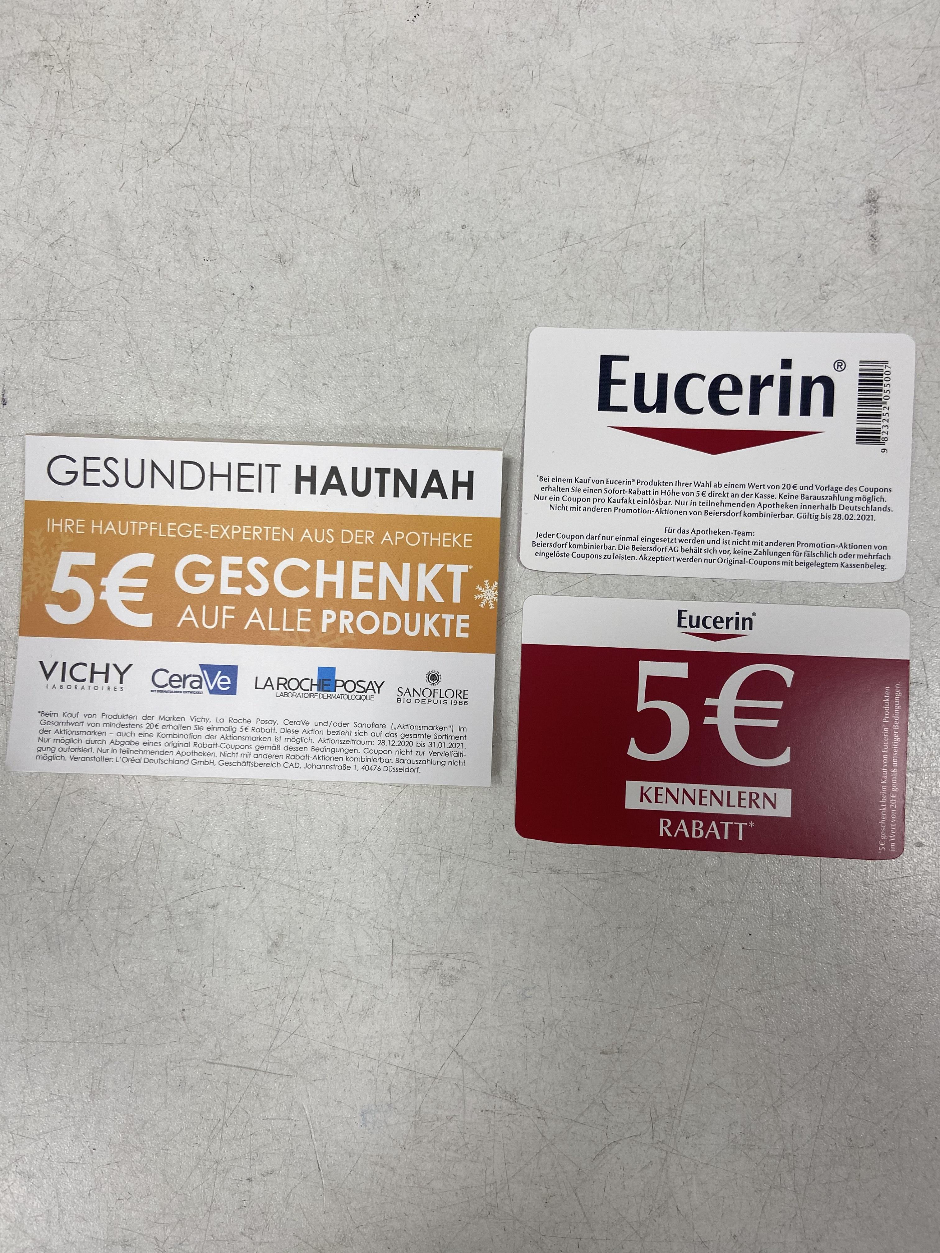 5€ Rabatt (20€ MEW) auf Eucerin, Vichy, CeraVe, etc. in Apotheken