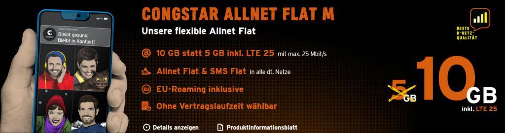 [congstar] Allnet Flat M für 16,88 €/M statt 20,63 €/M bei 24 Mon. Laufzeit, 10GB, LTE25