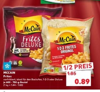 [Regional Kaufland Paunsdorf-Center ab 07.01] McCain 1-2-3 Frites oder Frites Deluxe Pommes im 600-750g Beutel für nur 0,89€