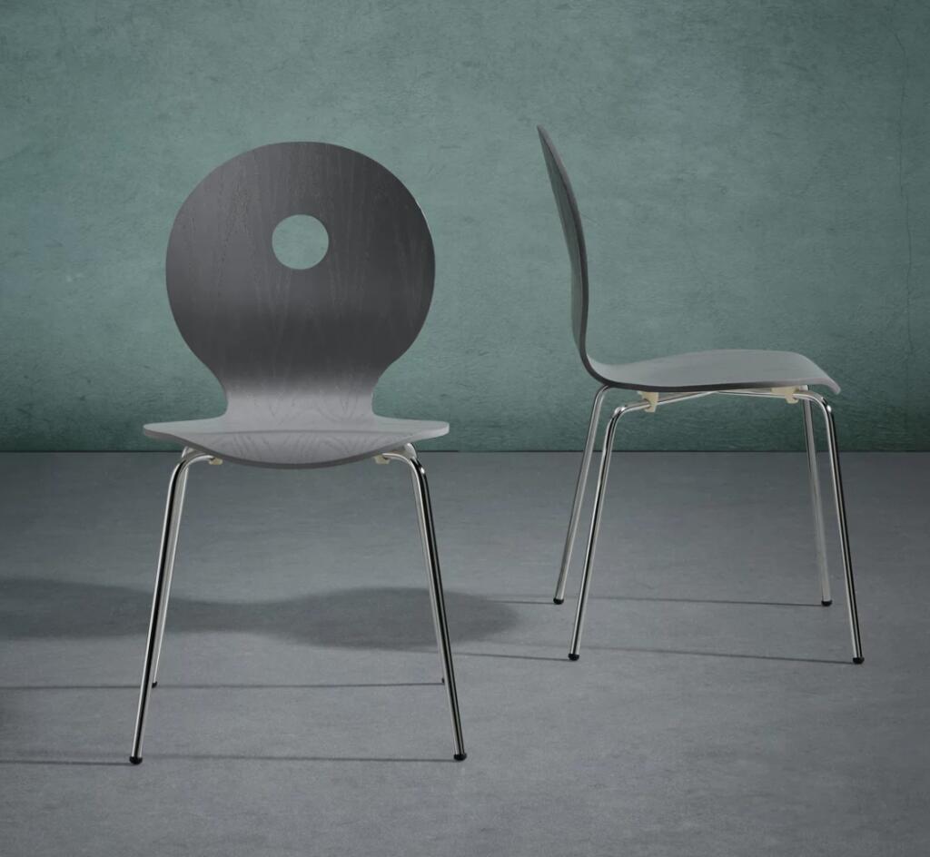 Bessagi Home - STUHL in Grau 'Nahia' / Eichenholz + Metall