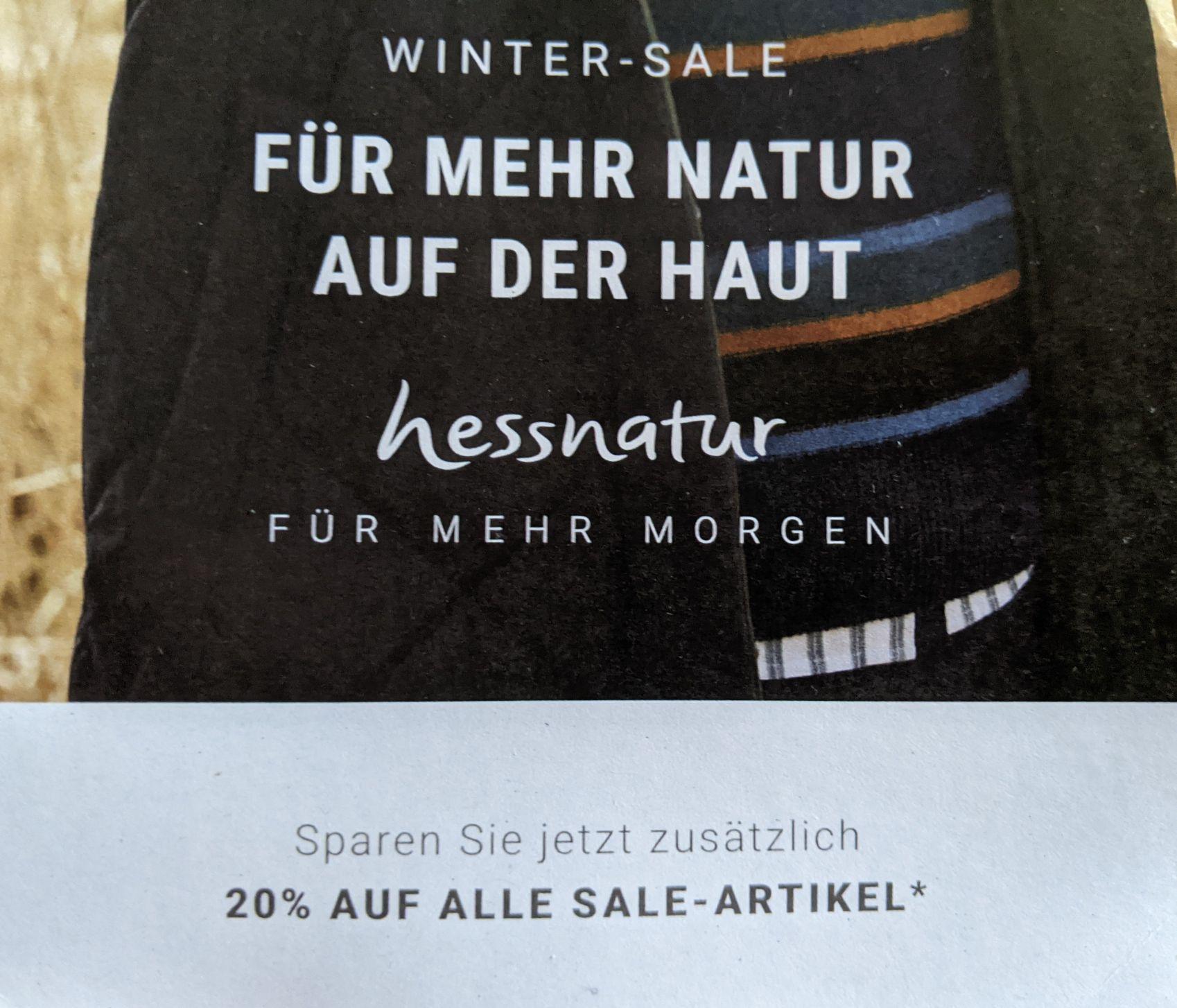 [Hessnatur] 20% zusätzlich auf alle Sale Artikel ab 11.1.