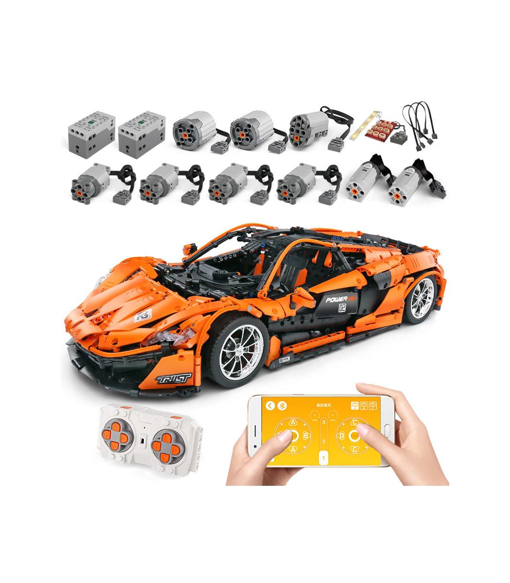 Mould King 13090 Mclaren P1, Klemmbaustein, 9-fach motorisiert, Kohlefaserwellen, LED Beleuchtung, 1:8, 3228 Teile (ohne Motor/LED 104,50€)