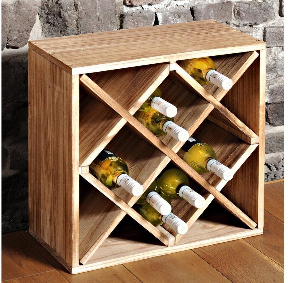 Kesper Weinflaschenregal Paulownia geflammt - Weinregal für 20 Flaschen