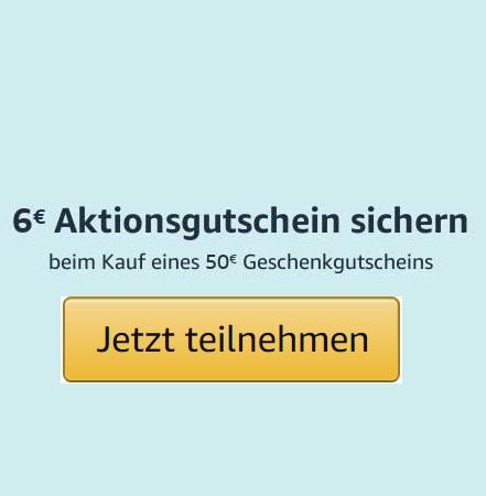 (ausgewählte Prime-Abonnenten) 6€ Aktionsgutscheinen sichern beim Kauf eines 50€ Amazon Geschenkgutscheinen