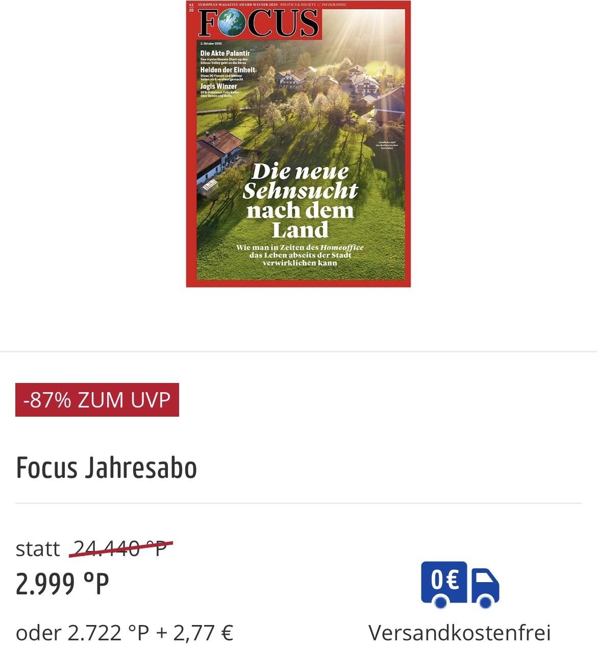Focus Jahresabo -87% (Payback Prämienshop)