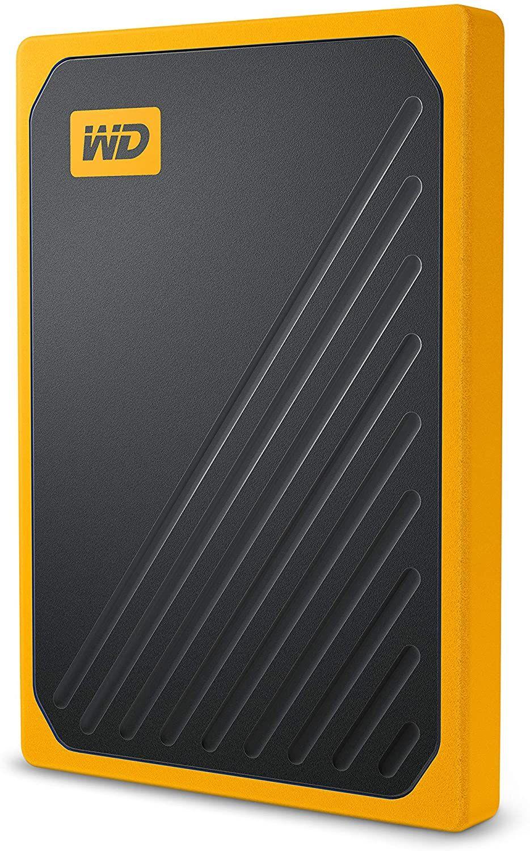 "Western Digital WD My Passport Go 2TB portable SSD (2,5"", SATA, 400 MB/s, Gummiummantelung, integriertes Kabel) Gelb"