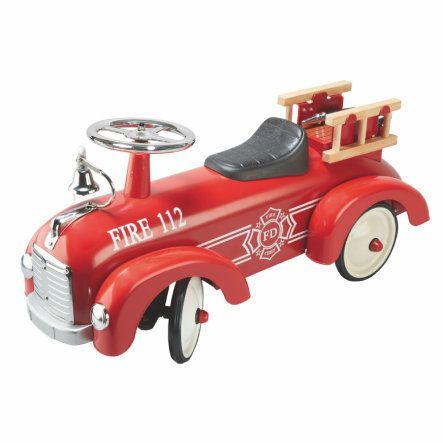 [babymarkt.de] Tatü-tata, die Feuerwehr ist da! GOKI Rutscherfahrzeug Feuerwehr, Maße: 76 x 24,5 x 34,5 cm