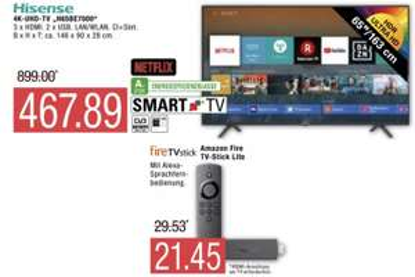 Marktkauf Nord: Hisense H65BE7000 163cm 65 Zoll 4K UHD Smart TV für 467,89€ / Amazon Fire TV Stick Lite für 21,45€