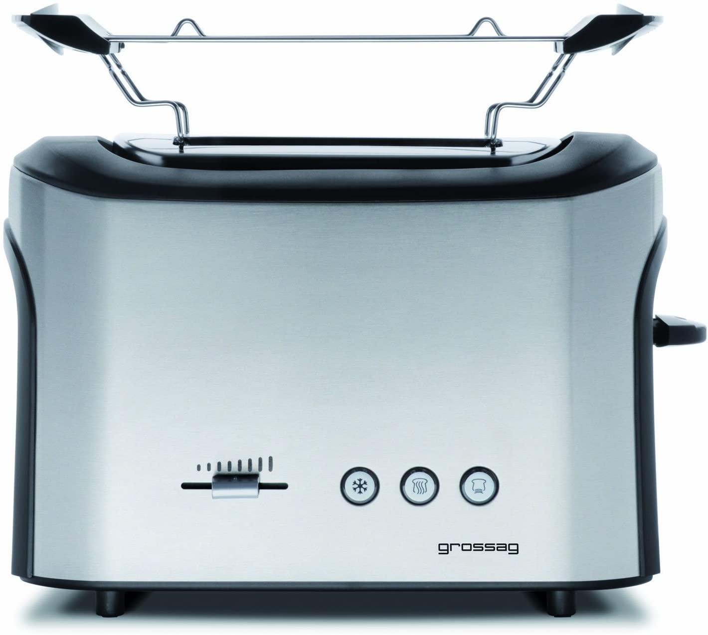 grossag TA 64 Toaster (740W, 2 Scheiben, stufenlose Röstgradeinstellung, Brötchenaufsatz, Brotzentrierung, herausnehmbare Krümelschublade)