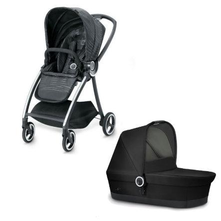 gb PLATINUM Kinderwagen Maris Plus Lux Black mit Kinderwagenaufsatz Cot Monument Black, ab Geburt bis ca. 17 kg (ca. 4 Jahre)