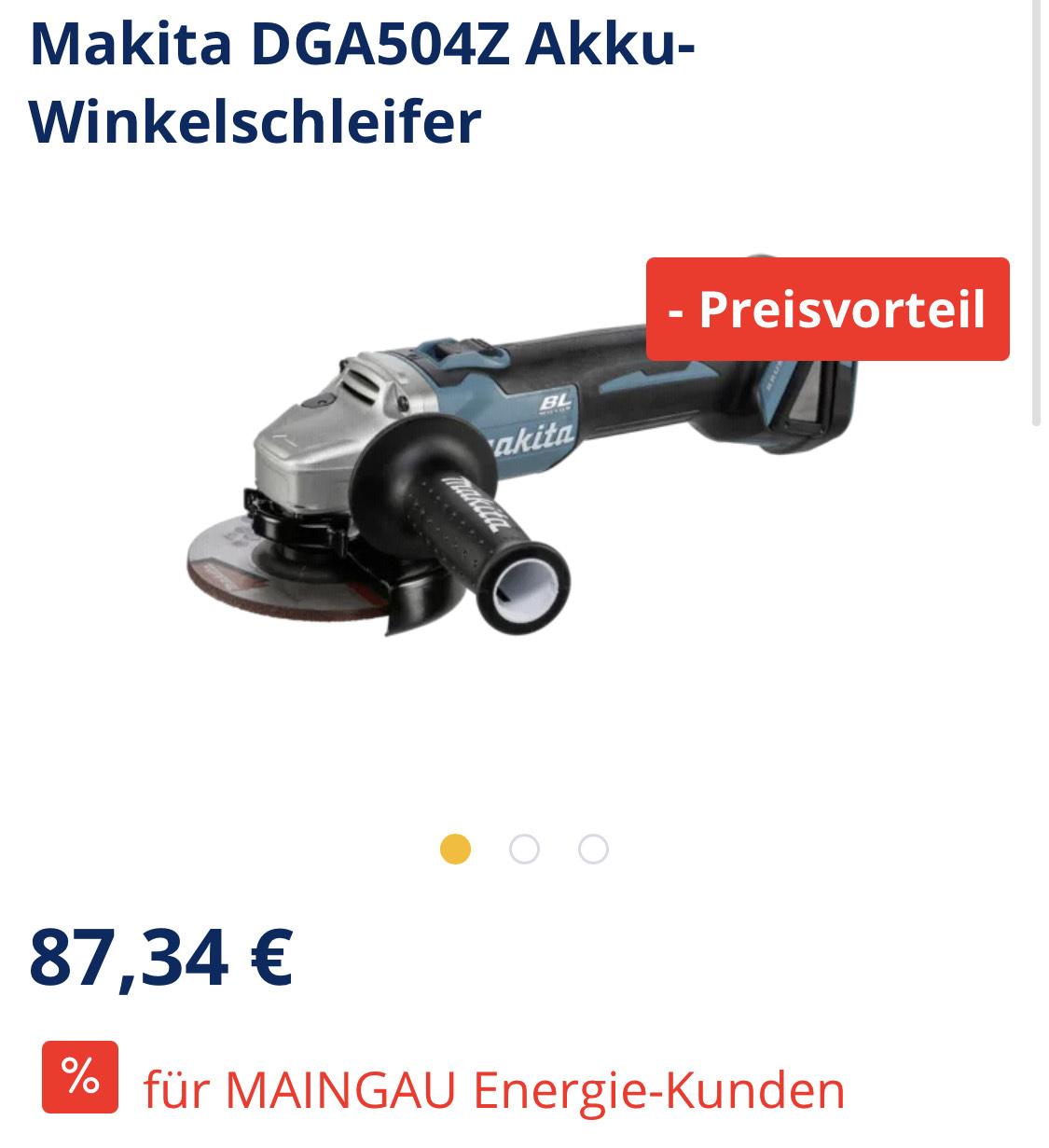 [Nur für Maingau-Energie Kunden] Makita DGA504Z Akku-Winkelschleifer 18V Solo brushless 125mm Scheiben für 87,34€