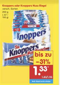 Knoppers oder Knoppers Nuss Riegel 200g (Netto MD 1,33€ / Rewe 1,34€)