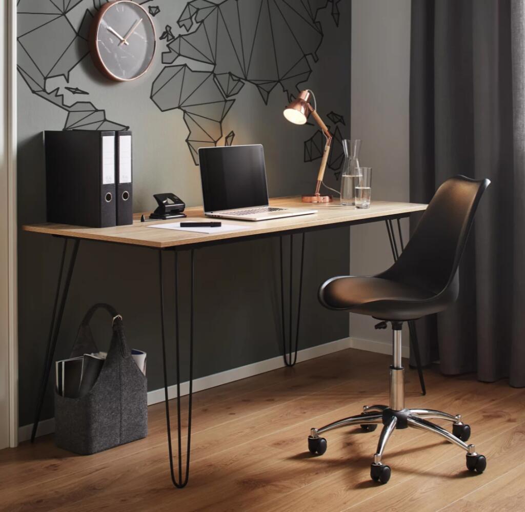 Bessagi Home - Schreibtisch Julian ca.150x70cm / Metall, Holzwerkstoff
