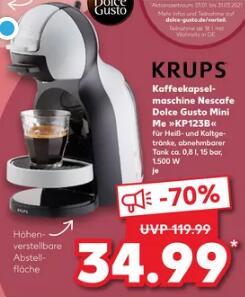 [Kaufland] Krups Kaffeekapselmaschine Nescafe Dolce Gusto Mini ME / KP123B