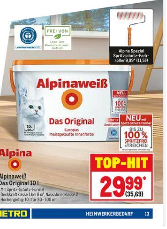 Alpinaweiß Wandfarbe - Das Original mit Katze 10 Liter [Metro]