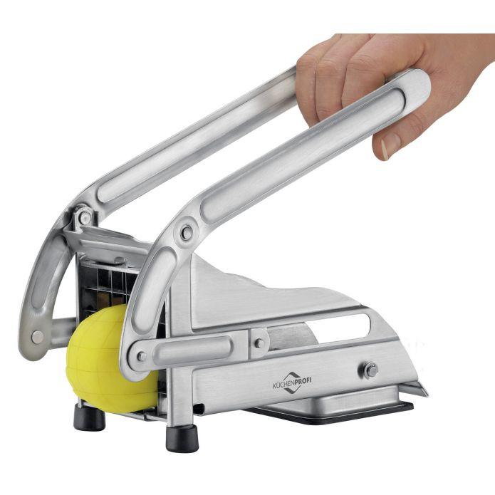 Küchenprofi Pommes-Frites-Schneider (2 Einsätze à 36x11mm & 64x8mm, Edelstahl, Vakuum-Saugfuß)