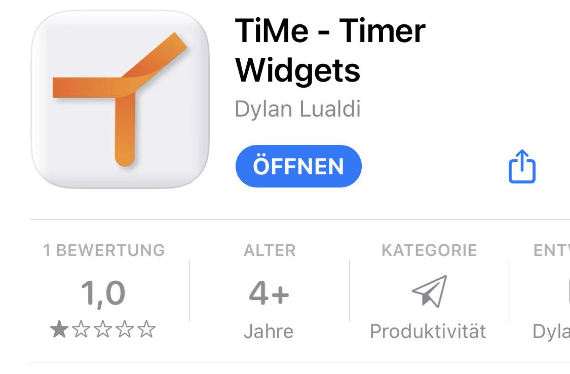 [iOS] TiMe - Widgets von Timern - kostenloser Premium-Lifetime-IAP statt 0,49 € monatlich (Englisch)