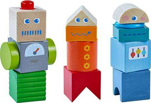 [Amazon Prime] HABA 304353 - Entdeckersteine Roboter-Freunde, Holzspielzeug mit bunten Bausteinen, ab 2 J.
