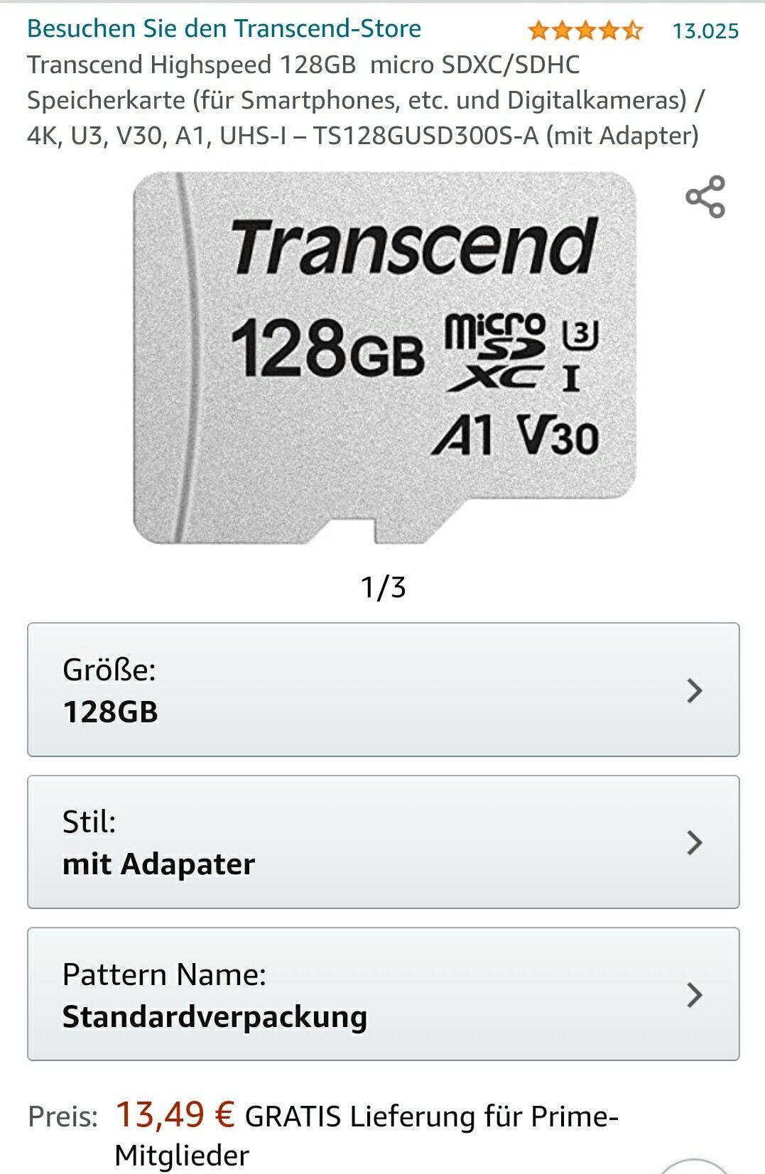 (Amazon Prime) Transcend TS128GUSD300S-A Micro-SD Karte 128Gb