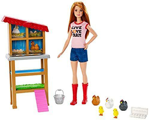 [Amazon Prime] Barbie FXP15 - Berufe Bäuerin Puppe und Spielset, mit Hühnern und Küken, ab 3 J.