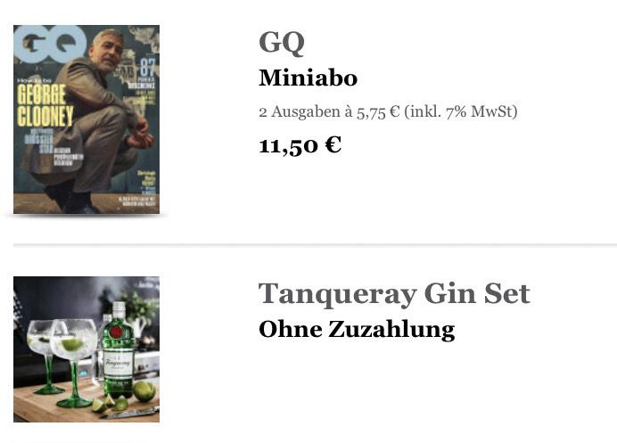 GQ Miniabo (2 Ausgaben) + Tanqueray Geschenkset (Kündigung notwendig)