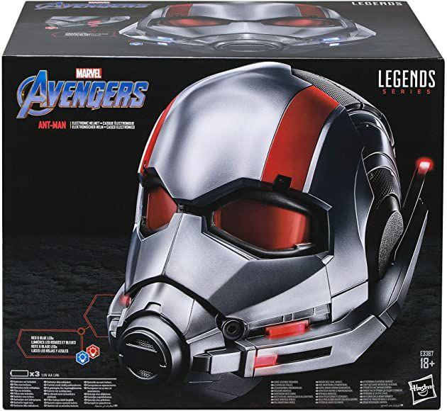 [Amazon] Hasbro Marvel Legends Series Ant-Man, elektronischer Premium Rollenspiel-Helm mit LED Lichtern, E3387EU4, Silber-rot
